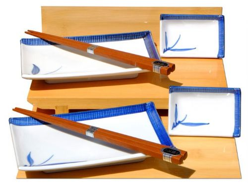 Blue Bamboo ceramic Sushi Set Japanese for two